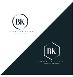 Initial letter bk circle brush hexagon brush vector