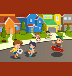 Kids playing in the street of a suburban vector