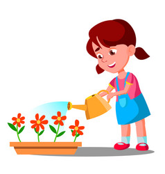 little girl watering flowers help vector image