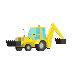 Loader with excavator bucket flat isolated vector
