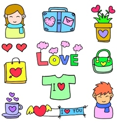 Love and heart object of doodles vector