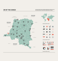 Map dr congo high detailed country vector