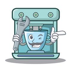 Mechanic coffee maker character cartoon vector