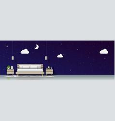 Modern bedroom with night sky wallpaper background vector