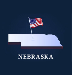 nebraska state isometric map and usa national vector image