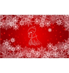New Year red background with white snowflakes vector image