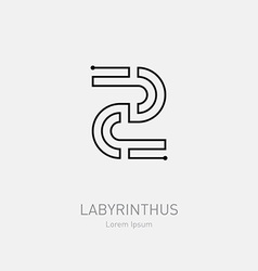 Number 2 Labyrinth logo template Line art rebus vector image