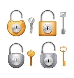 Padlocks And Keys Realistic Set vector image