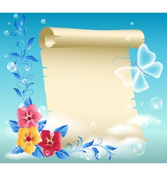 Parchment and flowers vector image