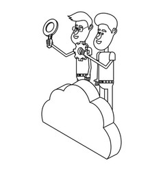 people and cloud computing black and white vector image