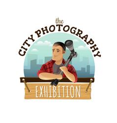 photography logo customization vector image