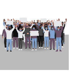 Protesting people with hands up in medical face vector