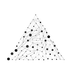 pyramid with dots and lines wireframe vector image