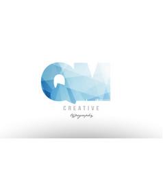 qm q m blue polygonal alphabet letter logo icon vector image