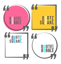 Quote square and speech bubble template set vector