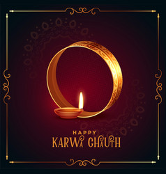 Realistic happy karwa chauth festival card with vector