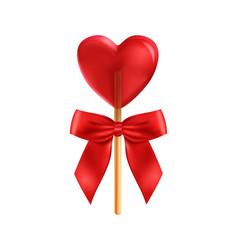 Realistic heart lollipop composition vector