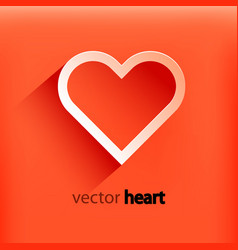 Red heart paper sticker with shadow vector
