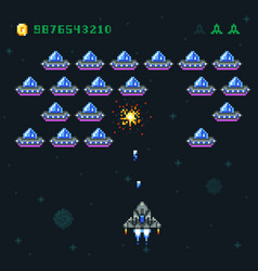 Retro arcade game screen with pixel invaders vector