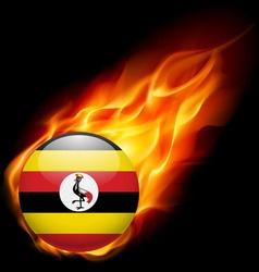 Round glossy icon of uganda vector