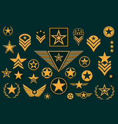Set army star military rank insignia military vector