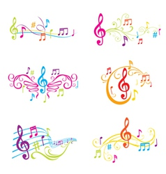 set colorful musical notes vector image