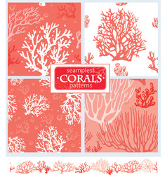 set corals seamless patterns vector image