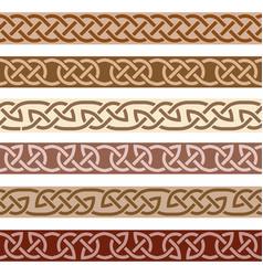 set decorative borders celtic style ornament vector image