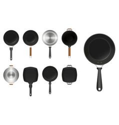 Set frying pan kitchen utensil or aluminium vector