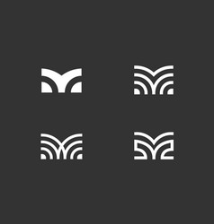 Set letter m linear logo icon design modern vector