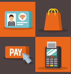 Set of payment with nfc icons contactless vector