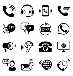 Set simple icons on a theme technical support vector