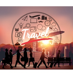 Silhouette people with airport background vector image
