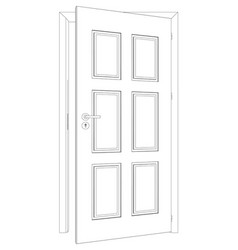 Sketch of opened wire-frame door vector