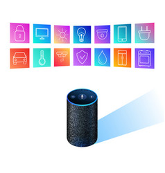 Smart speaker for smart home control icons on vector