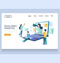 Social media marketing website landing page vector