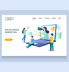 social media marketing website landing page vector image
