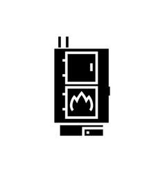 Solid fuel boiler - pellet stove icon vector