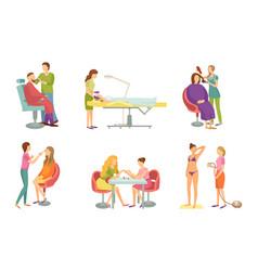 Spa procedure in beauty salon cartoon banner set vector