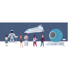 space exhibition in museum or art gallery vector image