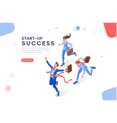 Start-up success concept web template vector