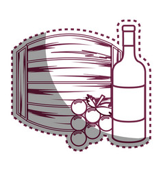 Sticker line bottle wine barrel and grape vector