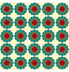 Teal flowers on beige backdrop vector image