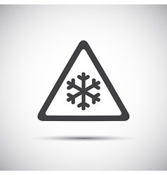Triangular warning symbol simple of snowflakes vector