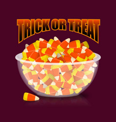 Trick or treat halloween bowl and candy corn vector