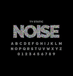 Tv static noise effect font design vector