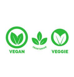 Vegan label vegetarian food green leaf icon vector