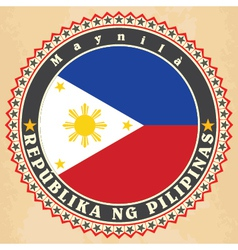 Vintage label cards of Philippines flag vector