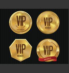 Vip member golden badge collection 3 vector