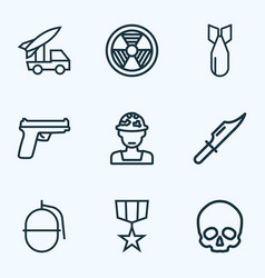 warfare icons line style set with bio hazard vector image